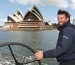 Giovanni Soldini onboard Maserati VOR 70 training in Sydney and sailing past the Opera House 04/12/2015 ph. Andrea Francolini